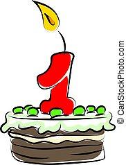 illustrazione, uno, numero, compleanno, fondo., vettore, torta, bianco