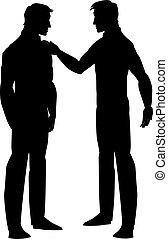 illustrazione, uomini, silhouette, due, parlare