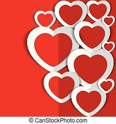 illustrazione, valentina, s, vettore, cuori, giorno