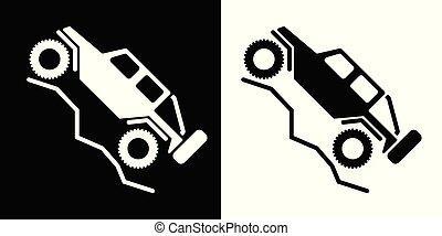 illustrazione, veicolo, strada, logotipo, vettore, 4wd, ricreativo, spento, isolato