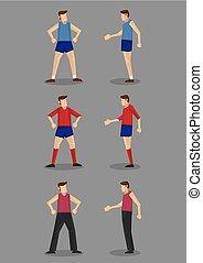 illustrazione, vettore, abbigliamento sportivo, uomini