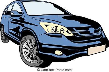 illustrazione, vettore, automobile