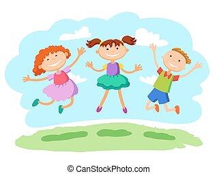 illustrazione, vettore, bambini, insieme, saltare, bastone