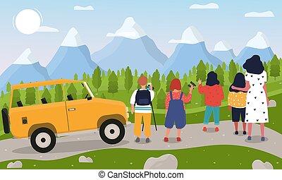 illustrazione, vettore, bambini, montagne
