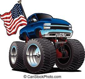 illustrazione, vettore, bandiera, camion, stati uniti, pickup, isolato, mostro, cartone animato