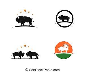 illustrazione, vettore, bisonte, sagoma, logotipo, icona