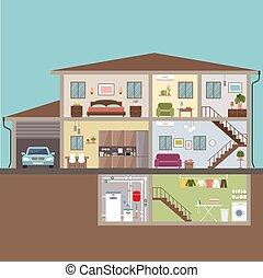 illustrazione, vettore, casa, cut., interior.