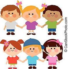 illustrazione, vettore, diverso, hands., gruppo, presa a terra, bambini