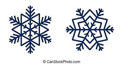 illustrazione, vettore, fiocchi neve, blu, isolato, set, forma, star., bianco, fondo.