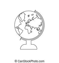 illustrazione, vettore, globo