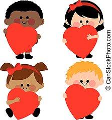 illustrazione, vettore, hearts., presa a terra, bambini, rosso