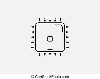 illustrazione, vettore, icon., appartamento, cpu, design., processore