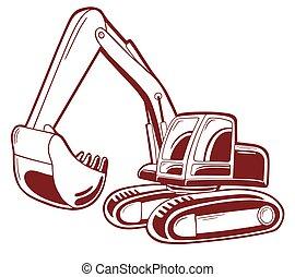illustrazione, vettore, isolato, scavatore, white.