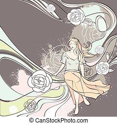 illustrazione, vettore, romantico, scheda