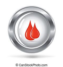 illustrazione, vettore, sangue, gocce, argento, icona
