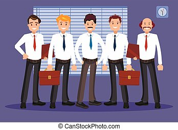 illustrazione, vettore, ufficio, staff.
