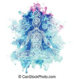 illustrazione, vettore, vendemmia, meditazione, atteggiarsi