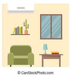 illustrazione, vettore, vivente, interno, room.