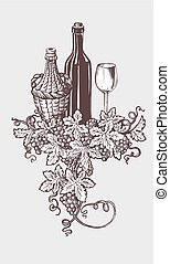 illustrazione, vino, winetasting