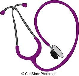 illustrazione, viola, fondo., vettore, bianco, stetoscopio