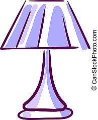 illustrazione, viola, lampada, fondo., vettore, bianco