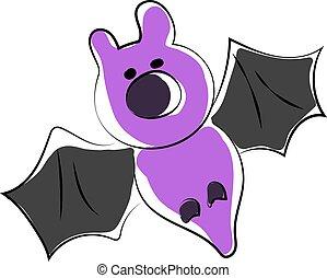 illustrazione, viola, pipistrello, fondo., vettore, bianco