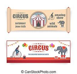 illustrazioni, bandiere, circo