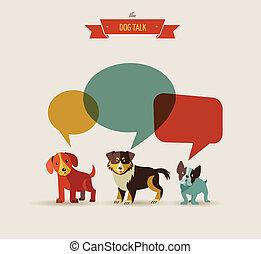 illustrazioni, -, cani, parlante, icone