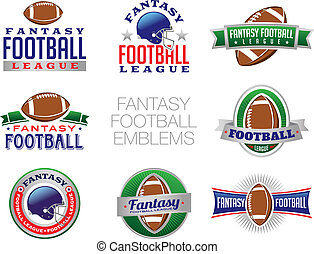 illustrazioni, fantasia, football, emblema