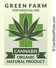 illustrazioni, manifesto, medico, foglia, marijuana