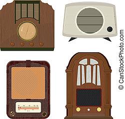 illustrazioni, radio, vettore, vecchio, collezione