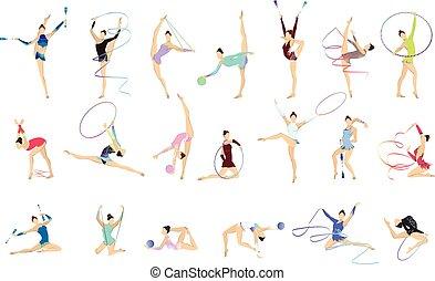 illustrazioni, set., ginnastica
