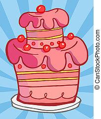 illustrazioni, torta, rosa