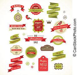 illustrazioni, vendemmia, elementi, etichette, natale