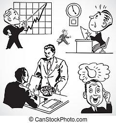 illustrazioni, vendemmia, vettore, affari