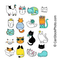 illustrazioni, vettore, doodles, collezione, gatto