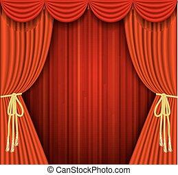 illustrazioni, vettore, teatro, rosso, palcoscenico