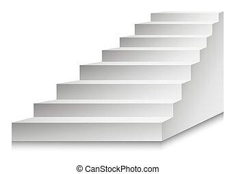 illustreation., échelle, podium, vecteur, escaliers, escalier, ou