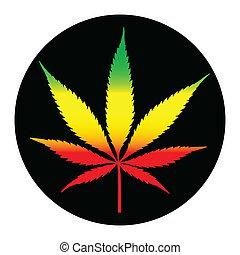 illustreation, hoja, marijuana