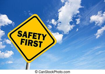 illustrerat, första, säkerhet, underteckna