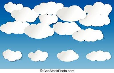 illustriert, blaues, wolkenhimmel, himmelsgewölbe