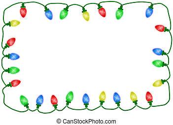 illustriert, lichter, hintergrund, zeit, weißes weihnachten