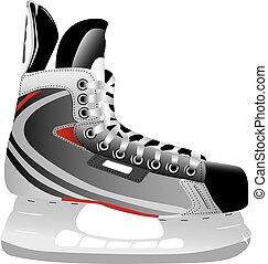 illustriert, schlittschuh, hockey, eis