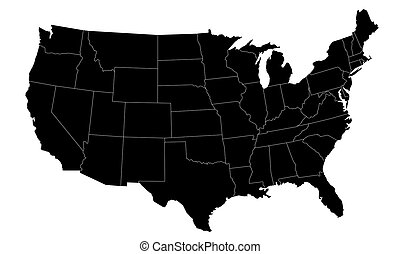 illustrierte landkarte, uns