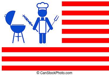 illustrstion, fazer, churrasqueira, fundo, cozinheiro, listras, bbq, vermelho