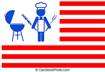 illustrstion of a chef making bbq grill with red stripes background