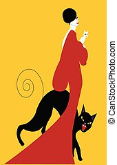 illustrtaion of an elegant woamn with black angry cat