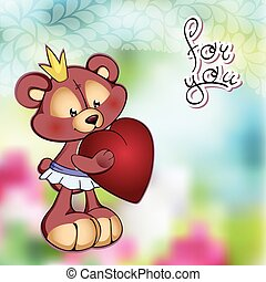 Illustrte vector of cute Teddy bear in a tutu and big red heart