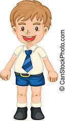 boy - illustrtion of a boy in school uniform on white