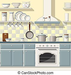 Illustrtion of a classic kitchen